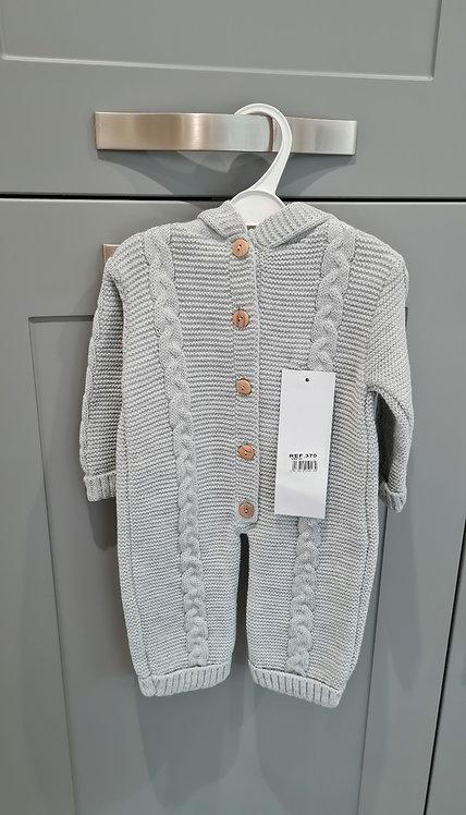 Grey Knitted Pom Pom Hooded Pramsuit