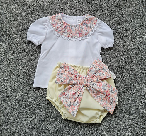 Pale Yellow Bow Bloomer & Blouse Set