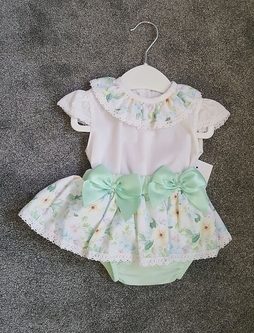 Green Floral Frilly Bow Bloomer Set