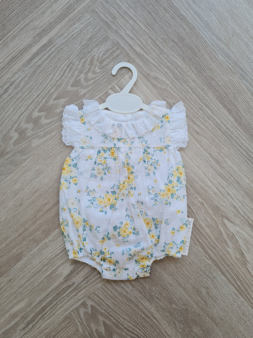Frilly Lace Collar Floral Romper
