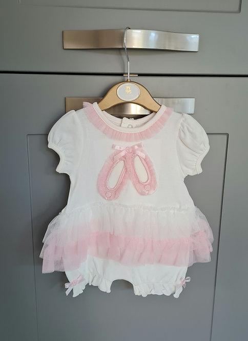 Mintini Cream & Pink Ballerina Tutu Romper