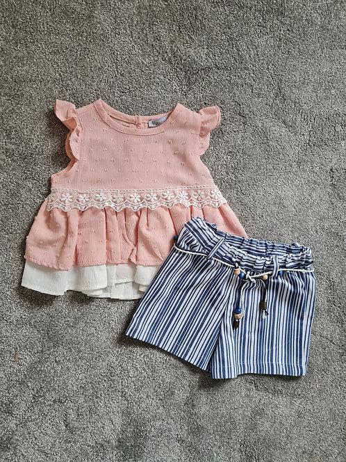 Peach Top & Striped Shorts Set