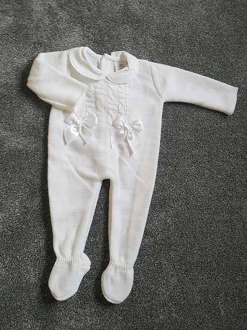 White Double Bow Knitted Sleepsuit