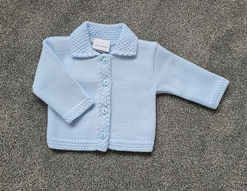 Baby Blue Collared Knitted Cardigan