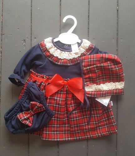 Navy Tartan Dress, Bonnet & Bloomer Set