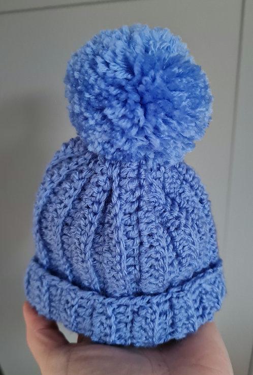 Handmade Blue Pom Pom Hat