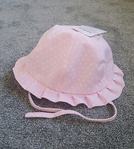 Baby Pink Heart Tie Sun Hat