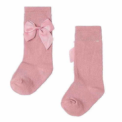 Dusky Pink Bow Knee High Socks