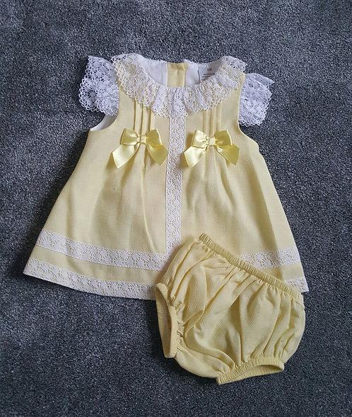 Spanish Yellow Lace Trim Dress & Bloomer Set