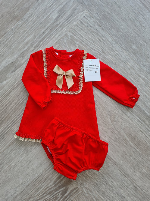 Red & Gold Bow Dress & Bloomer Set