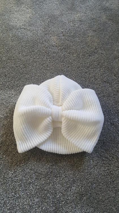 White Large Bow Turban Hat