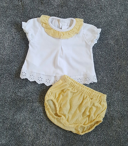 Boxed Yellow & White Floral Trim Bloomer Set