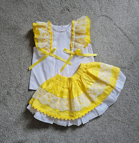 Wee Me Lace Yellow & White Skirt Set