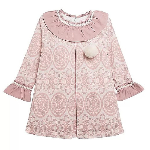 Spanish Pink Patterned Pom Dress