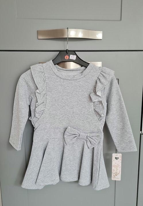 Grey Frill Bow Dress