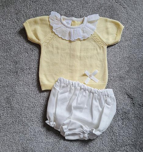 Yellow & Cream Lace Collar Bloomer Set
