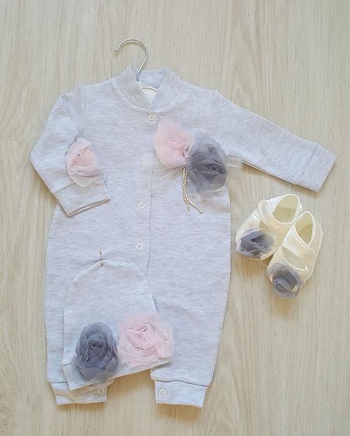 Grey Raised Flower 3 Piece Sleepsuit Set