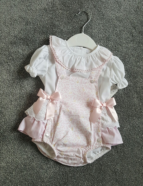 Baby Pink Floral Ribbon Bow Romper Set