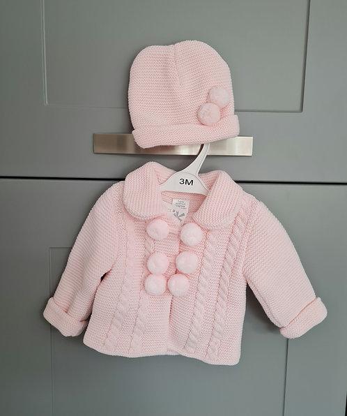 Baby Pink Chunky Pom Pom Jacket & Hat Set