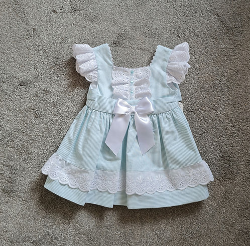 Mint Green Striped Lace Bow Dress