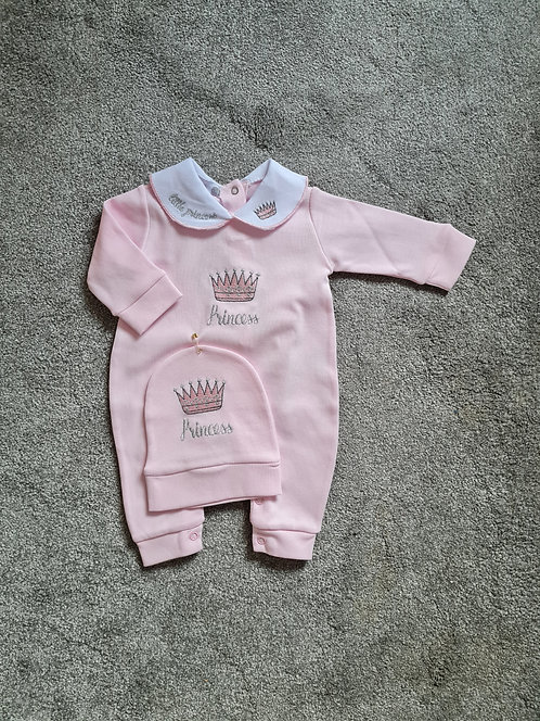 Pink Princess Embroidered Sleepsuit & Hat Set