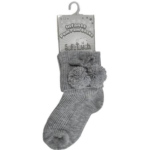 Grey Ankle Pom Pom Socks
