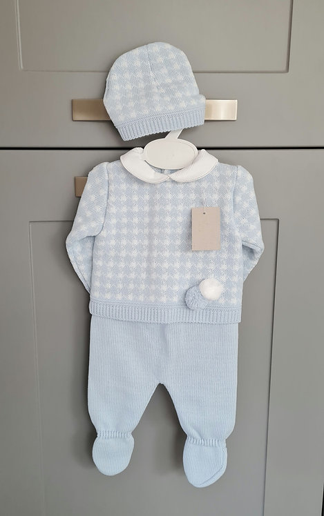Boxed Baby Blue Pom Pom Knitted Hat Set