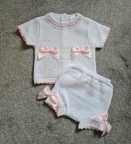 White & Baby Pink Bow Knitted Set