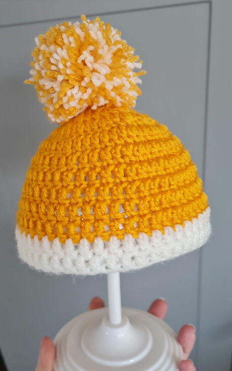 Handmade Mustard & White Pom Pom Hat