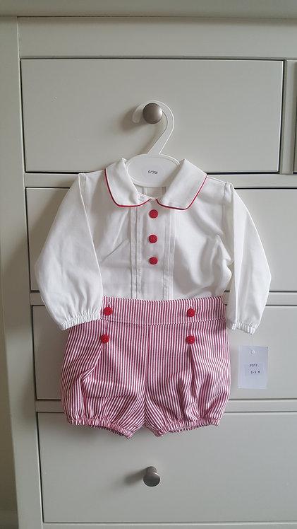 Cream & Red Smart Striped Shorts Set