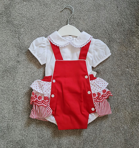 Spanish Red & White Frilly Bum Apron Set
