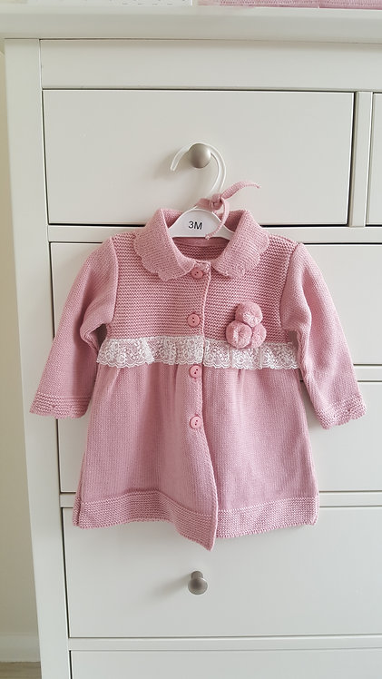 Spanish Pink Lace Pom Pom Jacket and Bonnet Set