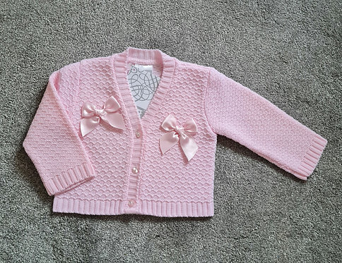 Pex Pink Double Bow Cardigan