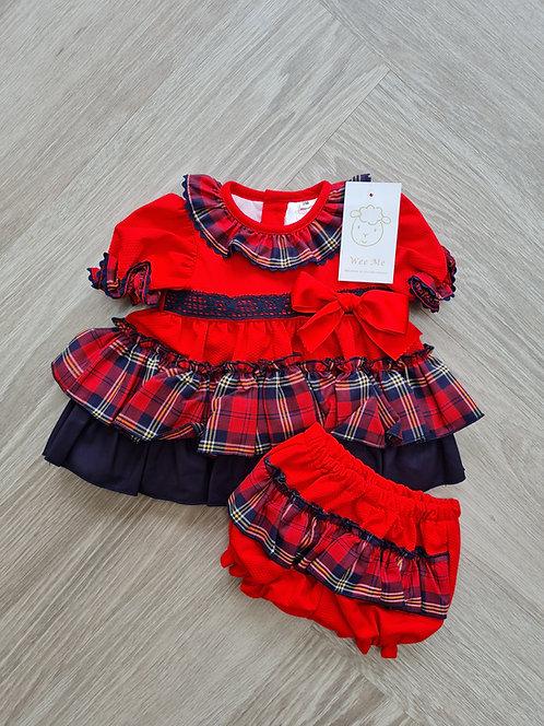 Wee Me Red & Navy Tartan Big Bloomer Dress