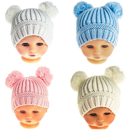 Double Knitted Pom Pom Hat