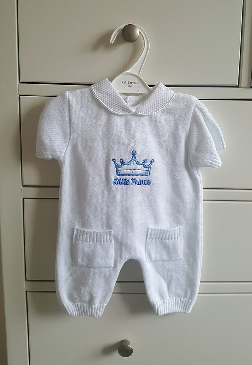 White Knitted Little Prince Romper