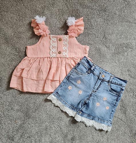 Peach Lace Top & Denim Diamanté Shorts Set