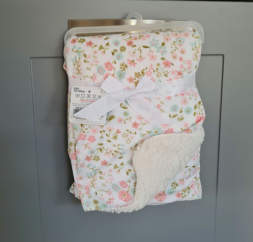 Cream Floral Sherpa Blanket