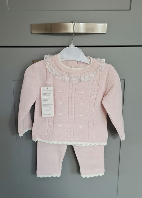 Pale Pink & Cream Lace Collar Knitted Set