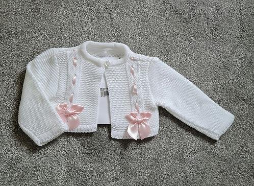 White Or Pink Bolero Bow Cardigans