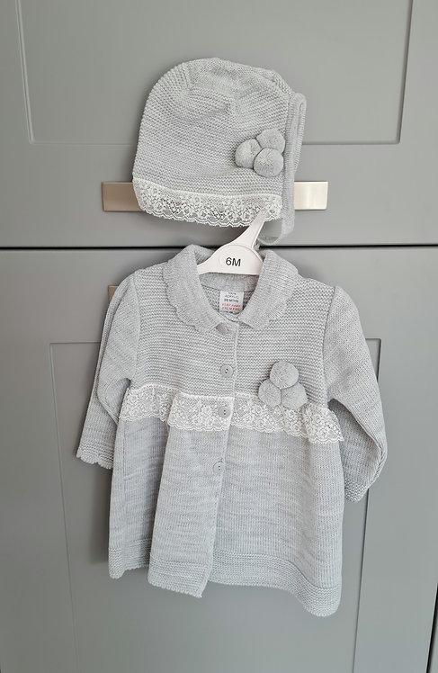Spanish Grey Lace Pom Pom Jacket and Bonnet Set