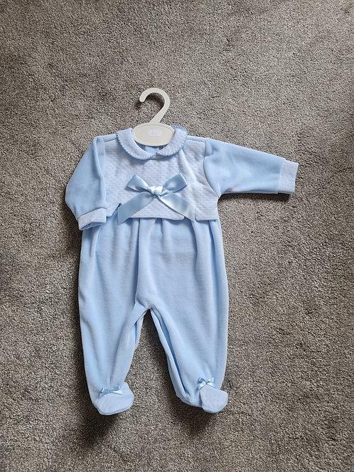 Baby Blue Velour Bow Sleepsuit