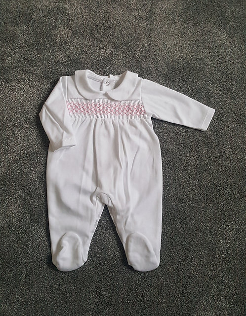 White / Pink Smocked Sleepsuit