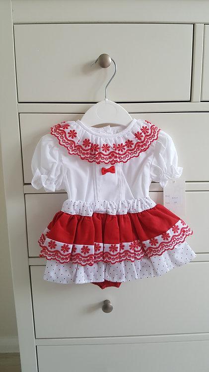 Spanish Red & White Big Bow Bloomer Set