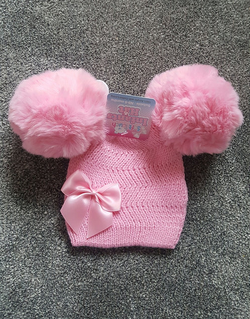 Bright Pink Double Fluffy Pom Pom Bow Hat