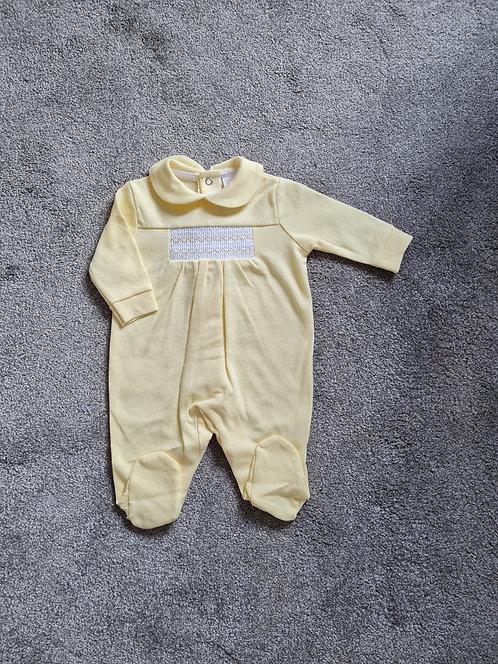 Pale Yellow Smocked Sleepsuit