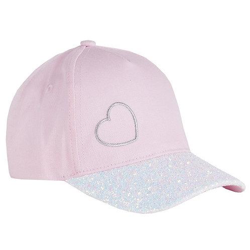 Baby Pink Glitter Peak Embroidered Heart Cap