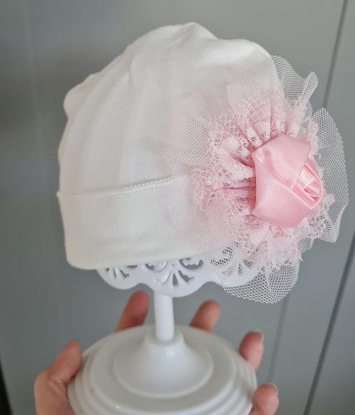 White & Pink Rose Bud Hat