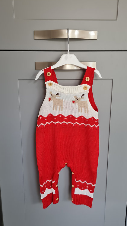 Red Knitted Reindeer Dungarees