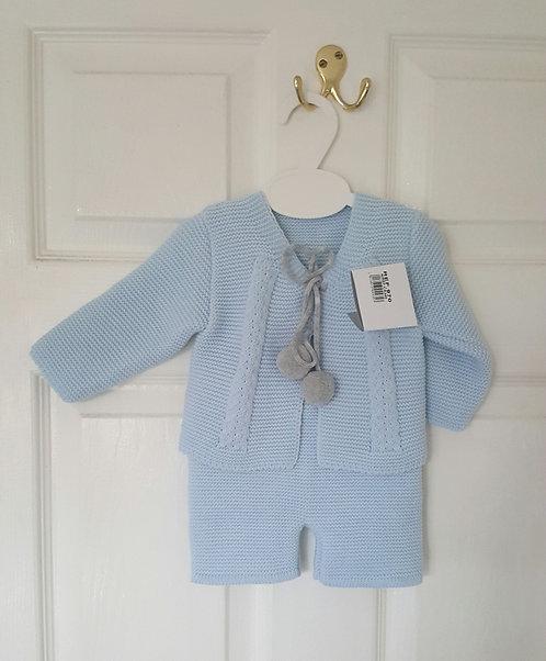 Baby Blue & Grey Pom Pom Knitted Set